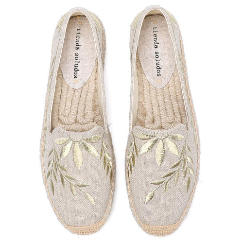 2020 Hot Sale Real Flat Platform Hemp Rubber Slip-on Casual Floral