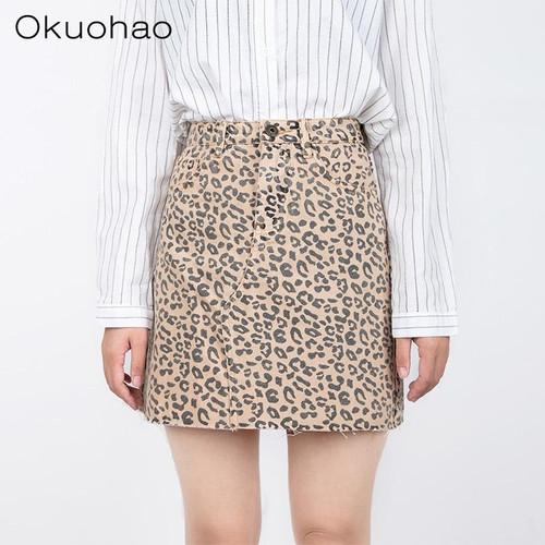 Okuohao Denim Skirt High Waist A-line Mini Skirts Women 2020 Summer