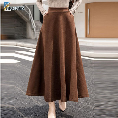 A Line Winter Skirts Women Hot Warm Design Lady Office Long Skirt Plaid