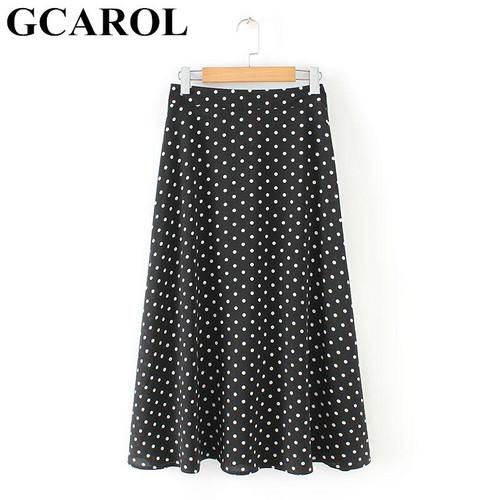 GCAROL Summer Women Elegant Polka Dot Long Skirt Big Hem Width Polyester