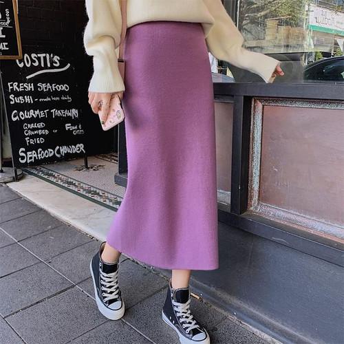 Women 2020 Sexy Straight Knitted Long Black Skirt  High Waist Ladies Midi Skirt