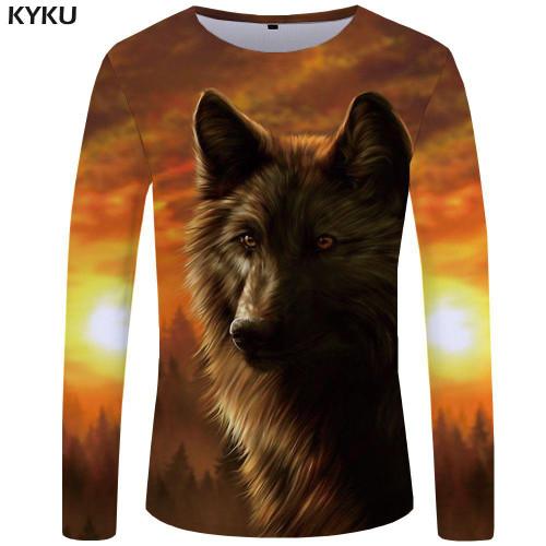 KYKU Wolf T shirt Men Long sleeve shirt Love Streetwear Snow Graphic Mountain Clothes Jungle 3d T-shirt Hip hop Mens Clothing