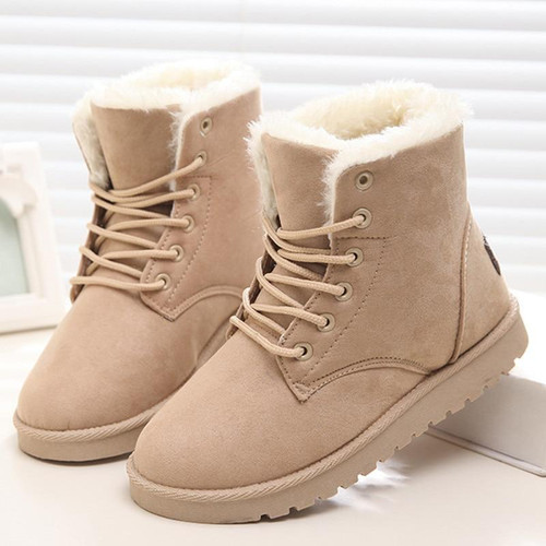 Classic Women Winter Boots Suede Ankle Snow Boots Female Warm Fur Plush Insole High Quality Botas Mujer Lace-Up - Joelinks store