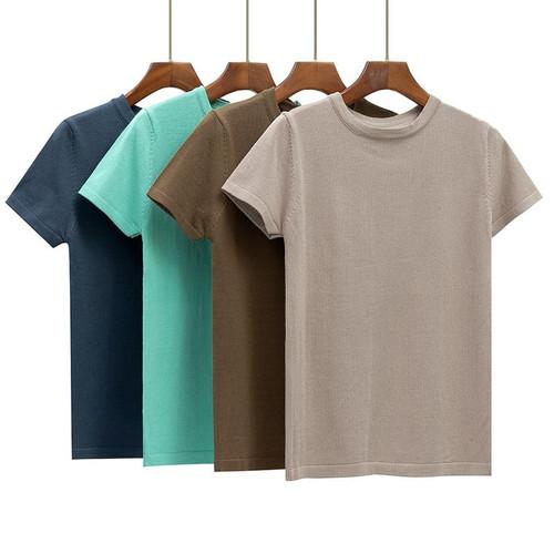 GIGOGOU Basic Cotton Summer T Shirt Women Knitted Short Sleeves Tee Shirt High Elasticity Breathable O Neck Female Top Tshirt
