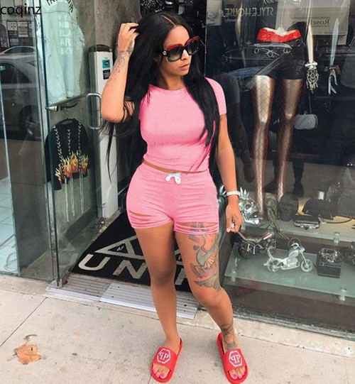 Plus Size Summer Two Piece Set Crop Top And Shorts 2 Piece Set Women Club Outfits Matching Sets Ensemble Femme 2 Pieces CY9027