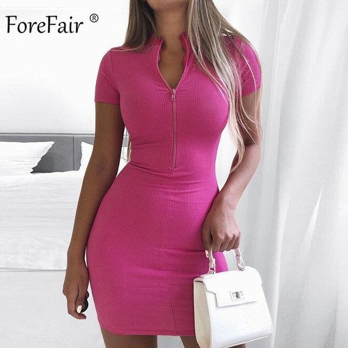 Forefair Summer Sexy Dress Women Zip Knitted Turtleneck