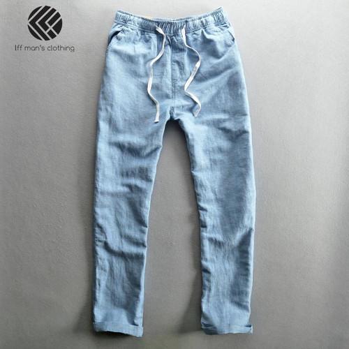 Men 2020 Summer Fashion Brand Solid Color Cotton Linen Thin Straight Pants