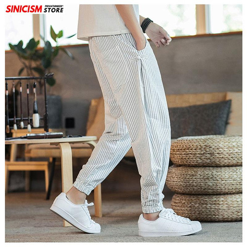 Sinicism Store Black White Striped Men Harem Pants 2020  Man Casual L