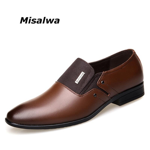 Misalwa Spring Autumn Men Formal Wedding Shoes Luxury Men Business Dress Shoes Men Loafers Pointy Shoes Big Size 38-47 - Joelinks store