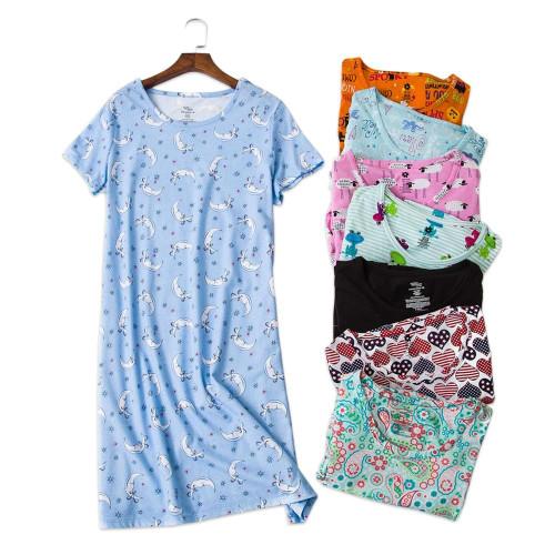 Sexy summer women nightdress home dress loose short sleeve 100% cotton