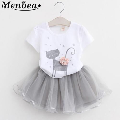 2020 Girl Clothes Summer Style Cat Cartoon Cute Little White Cartoon Dress