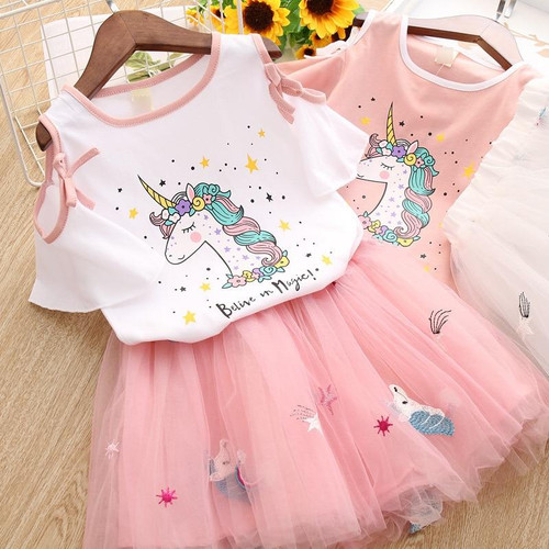 2-7 Years Girls Unicorn Dress Cute Star Pattern Lace Princess Dresses