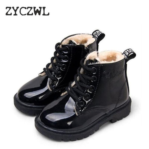 KIDS SHOES Rubber Boots Children Patent Leather Boot for Boys Girls