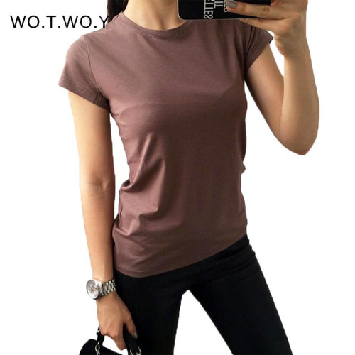 High Quality 18 Color S-3XL Plain T Shirt Women Cotton Elastic Basic T-shirts
