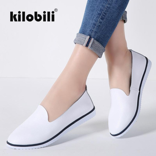 kilobili Women Ballet Flats Shoes Genuine Leather Slip on ladies Shallow Moccasins Casual Shoes Female Summer Loafer Shoes Women - Joelinks store