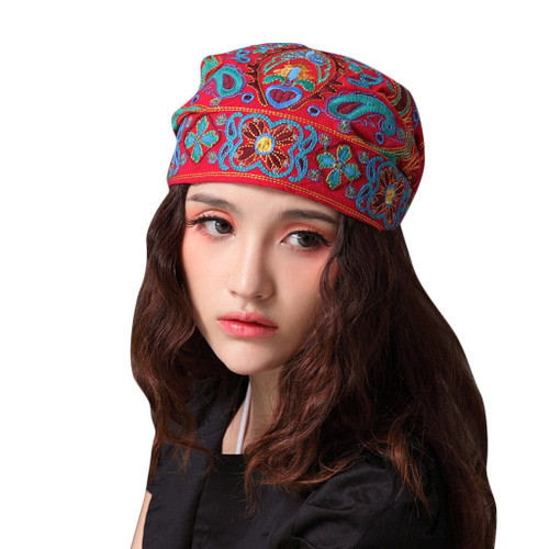 Women Mexican Style Ethnic Vintage Embroidery Flowers Bandanas Red