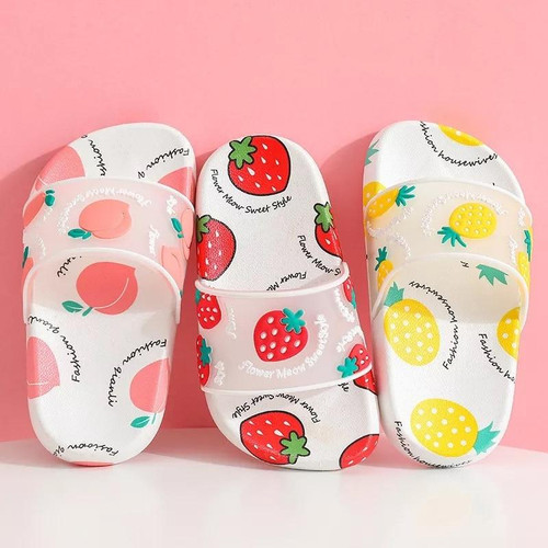 Summer slippers kids indoor slippers cartoon fruit strawberry girl flip flop