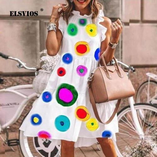 Colorful Dots Print Elegant Summer Dress Women Robe Daisy Print Dresses