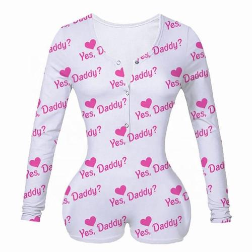 Sexy Women Underwear Bodysuit Long Sleeve Button Deep V Neck