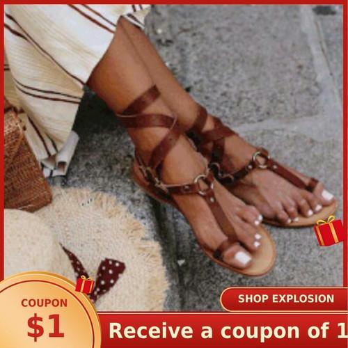 2020 New Summer Open Toe Flat Roman Retro Sandals Women