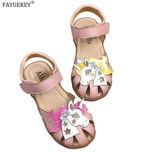 Rainbow Unicorn Sandals Infant Girls Sandals 2020 Summer Princess Shoes