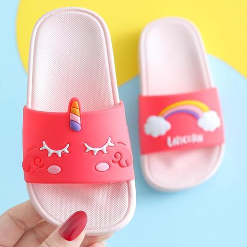 Kids Unicorn Slippers Girls Cute Cartoon Rainbow Shoes Children