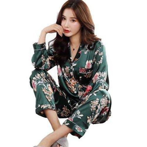 Satin Silk Pajamas for Women's Set pyjamas Button