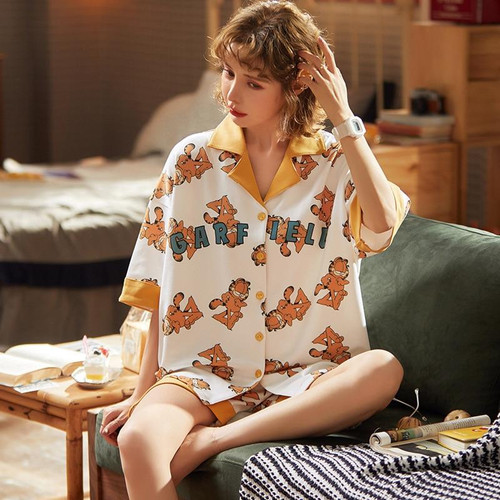 100% Cotton Pajama Sets Half Sleeves Pyjamas Women