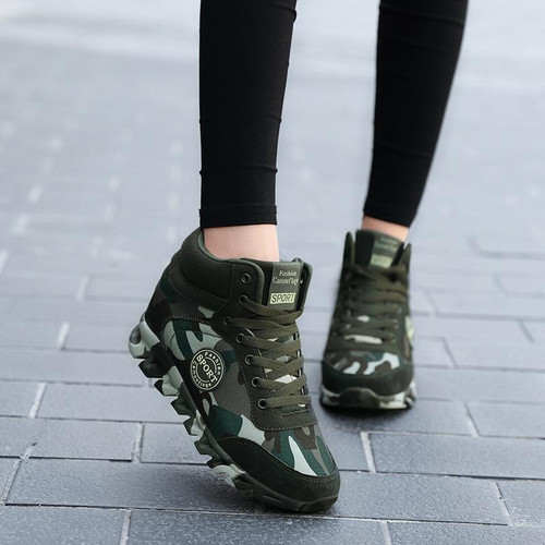 Fashion Camouflage Sneakers Women Hide Heel Canvas Casual Shoes Woman
