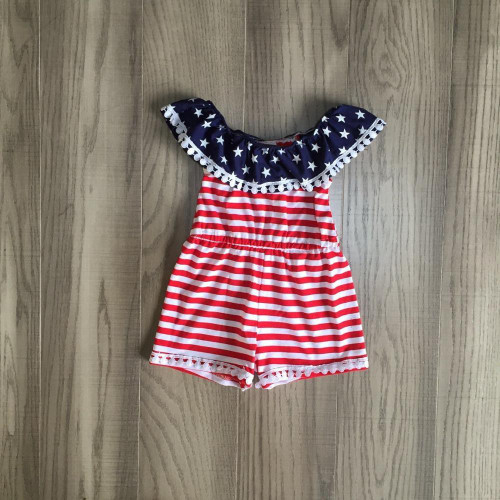 baby girls summer romper kids july 4th clothing stars stripe romper