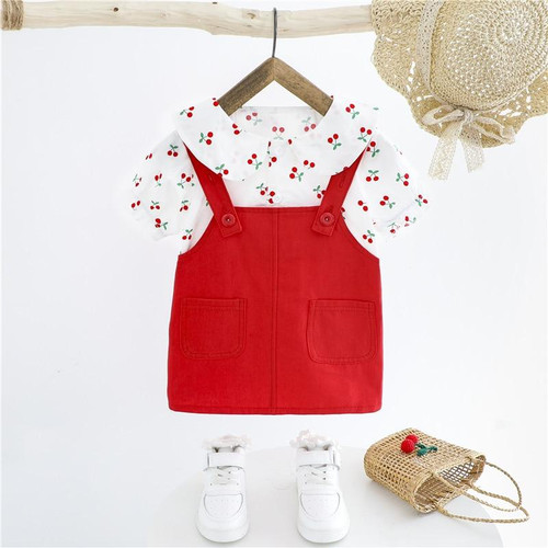 HYLKIDHUOSE 2020 Summer Baby Girls Clothing Sets Cherry Short Sleeve Tops Dress Infant Clothes Children Kids Vacation Clothing