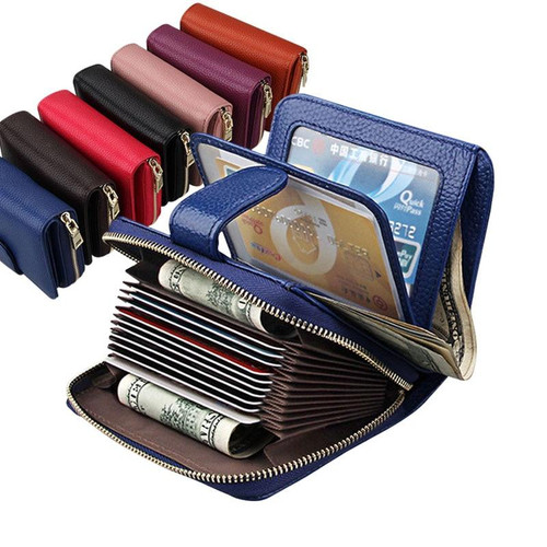Women Wallets Metal Zipper Small Wallet Short Credit Card Holder Genuine Leather