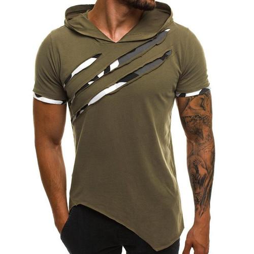 Summer Men's Hooded t-shirt New Casual Slim Short Sleeve t shirt