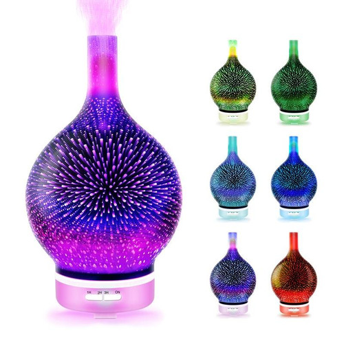 Air Humidifier 3D Vase with 7 Color Led Night Light Aroma Essential Oil