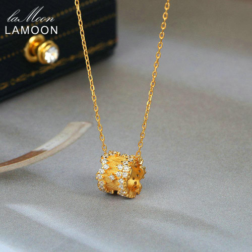 LAMOON 925 Sterling Silver Pendant Neckelace For Women Light Gold Plated