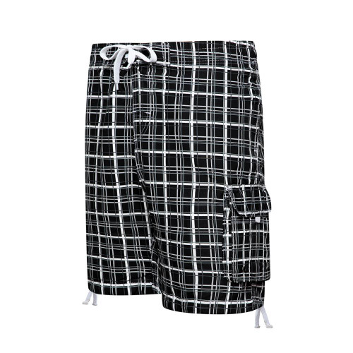2020 Summer Men Beach Shorts Casual Loose Striped Plaid
