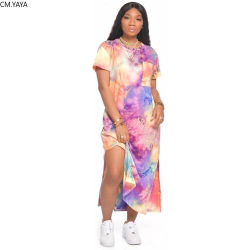 2020 Women Summer Long Maxi Dress O-Neck Short Sleeve
