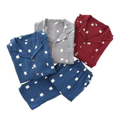 Spring New Men's Gauze Cotton Pajamas Set 2Pcs Homewear