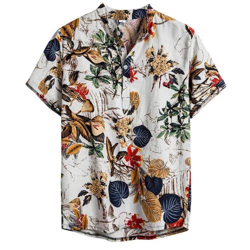 Mens Ethnic Short Sleeve Shirts Casual Cotton Linen Printing Hawaiian Shirt