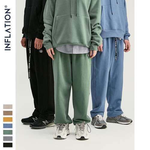 INFLATION DESIGN Men Sweatpants In Pure Color Loose Fit Retro Style Mens