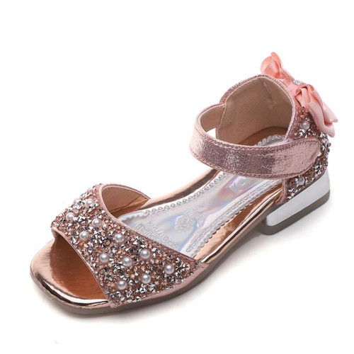 Summer Leather Sandals Baby Girls Cute Bling Sequin Princess Sandals