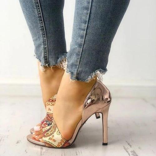 Summer Fashion Woman Shoes Sandals High Heels Thin Heel Ankle Peep Toe