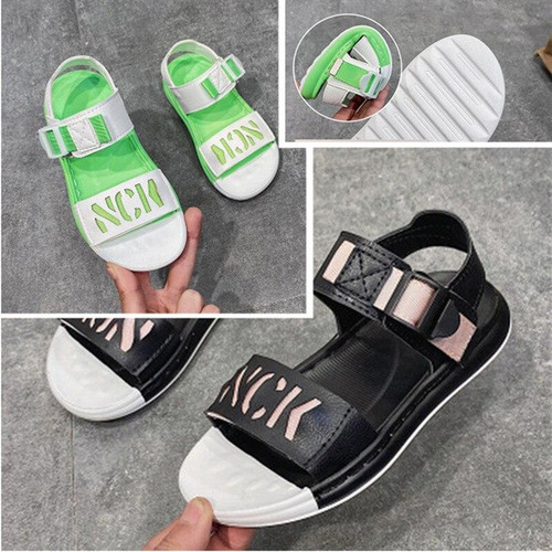 Summer Children's Colorblock Sandals, Round-toe Comfortable Open-toe Cool Boys Shoes, Rubber Soft Bottom Beach Shoes for Girls