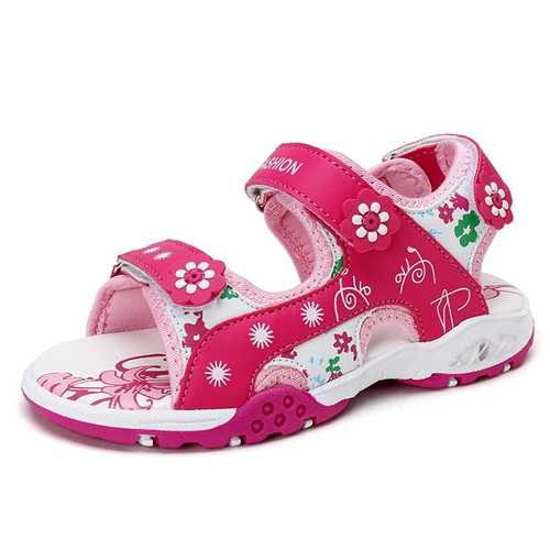 Kids sandals girl shoes 4-15Y children pink and red