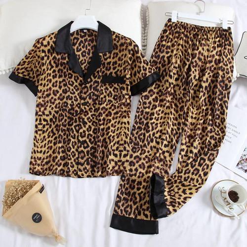 JULY'S SONG Women's Pajamas Sets Leopard Nightwear Casual