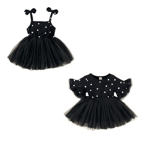 1 - 4 yrs Black Dress Baby Boys Girls Polka Dot Dress Mini Cute BowKnot