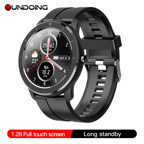 RUNDOING T6 Unisex Full touch round screen smart watch for men and women
