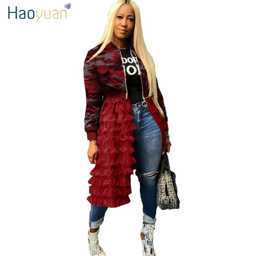HAOYUAN Plus Size Outerwear Camoflage Coats and Jackets Women Overalls Fall Clothes