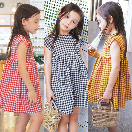 Girls Dress Toddler Kids Baby Girls Sleeveless Plaid Casual Dress