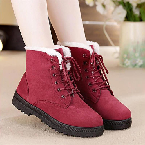 Snow boots 2018 classic heels suede women winter boots warm fur plush Insole ankle boots women shoes hot lace-up shoes woman - Joelinks store